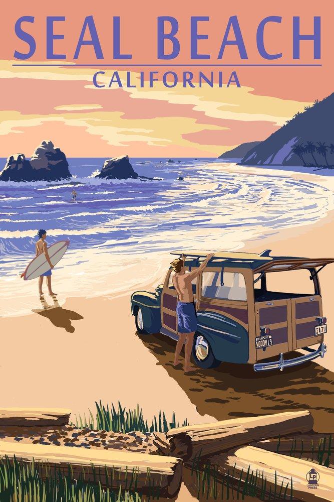 Sealビーチ、カリフォルニア – Woody on Beach 36 x 54 Giclee Print LANT-52106-36x54 36 x 54 Giclee Print  B017EA1PHA