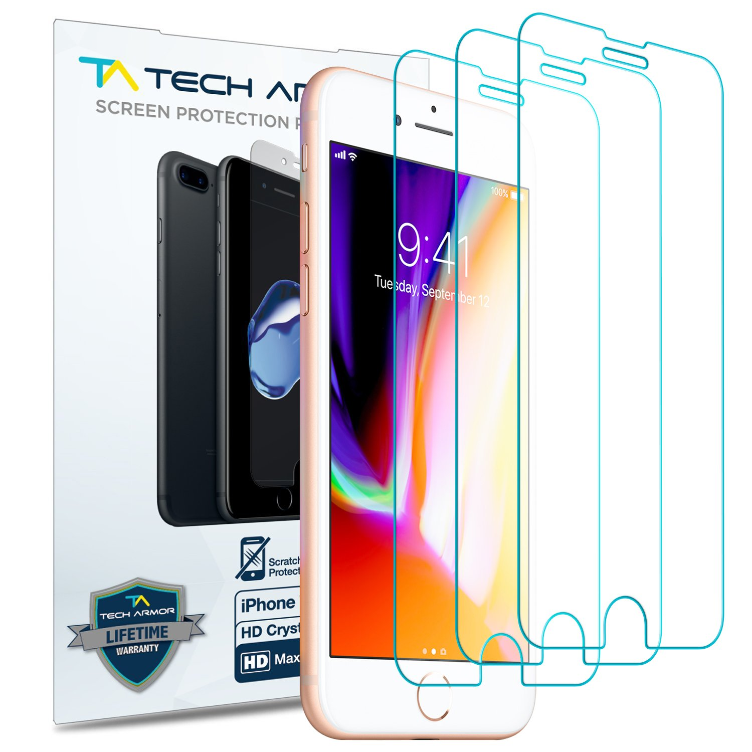 Apple iPhone 7, iPhone 8 Tech Armor HD Clear Film (4.7 inch) Screen Protector [3-Pack] 4326558727
