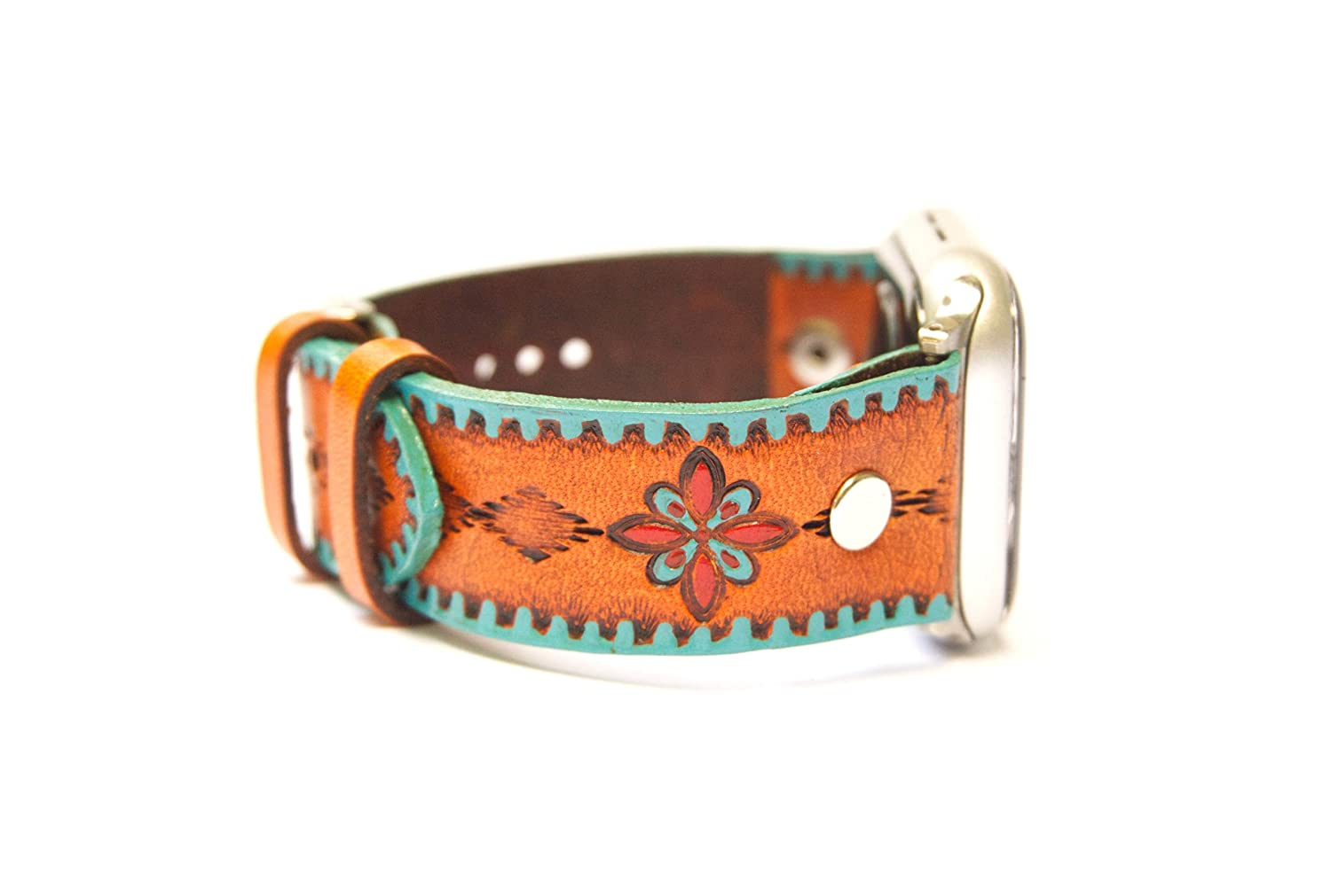 Handmade Southwestern Leather Apple Watch Band for 38mm 40mm 42mm 44mm Models with Turquoise and Red Accents