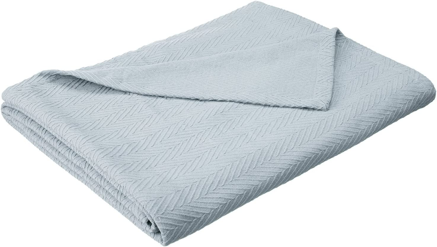 SUPERIOR 100% Cotton Thermal Blanket, Soft and Breathable Cotton for All Seasons, Bed Blanket and Oversized Throw Blanket with Metro Herringbone Weave Pattern - King Size, Light Blue