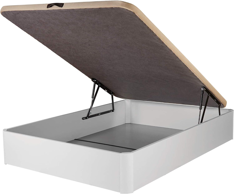 DHOME Canape Abatible Tapizado 3D 4 válvulas Maxima Calidad Esquinas canapé Madera (135x180 Blanco, 22mm)