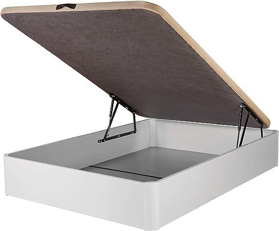 DHOME Canape Abatible Tapizado 3D 4 válvulas Maxima Calidad Esquinas canapé Madera (90x180 Blanco, 22mm)