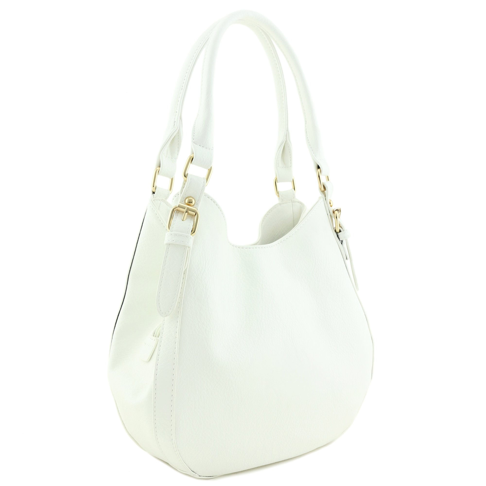 Light-weight 3 Compartment Faux Leather Medium Hobo Bag White