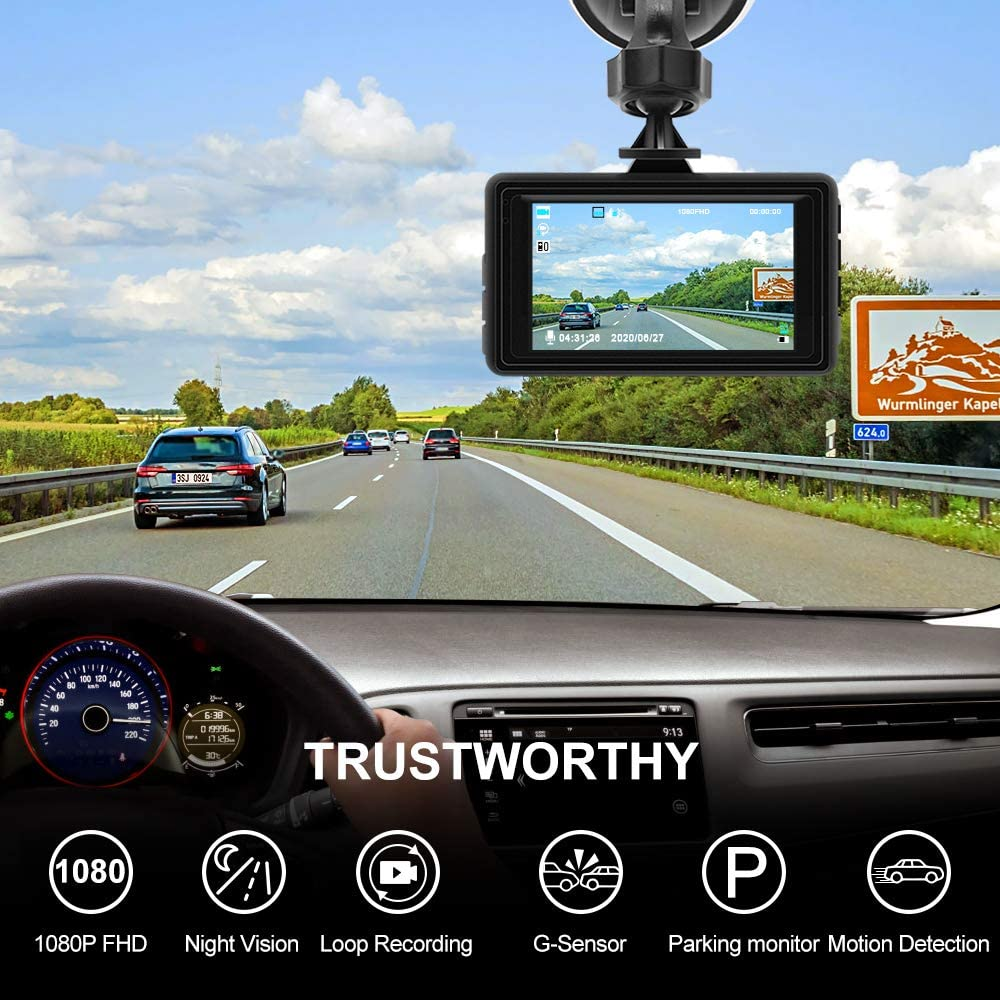 Black1 Car Dash Cam,Jimwey Dash Cam 3 inch Dashboard Camera Full 1080P HD 170/° Wide Angle Backup Camera Front and Inside Car Camera Recorder with Night Vision,Parking Mode and Loop Recording