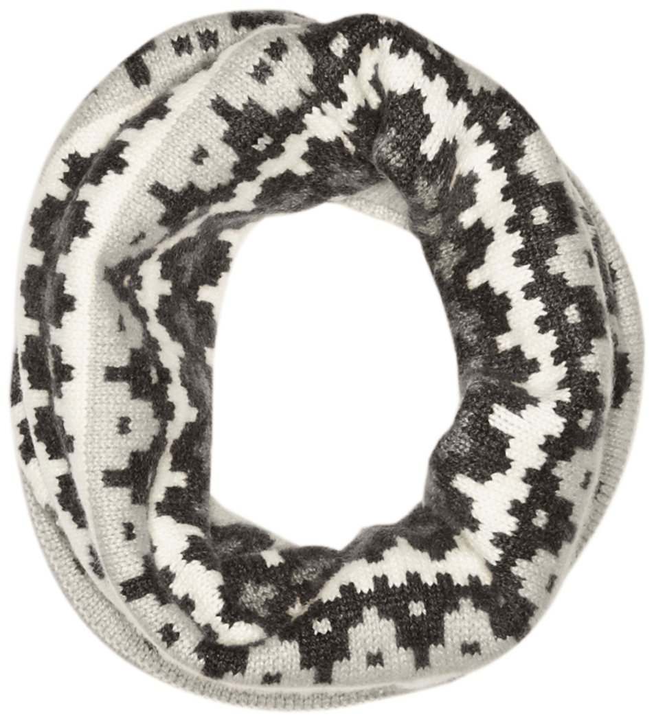 Sofia Cashmere Women's 100 Percent Cashmere Graphic Fairisle Snood, Grey Combo, One