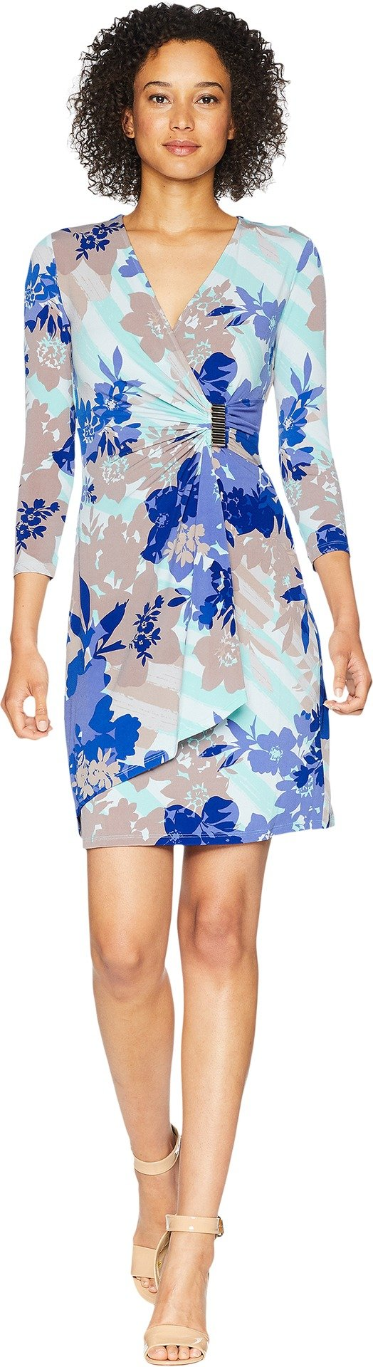 Calvin Klein Women's 3/4 Sleeve Mock Wrap Dress, Sea Glass Multi 18, 2