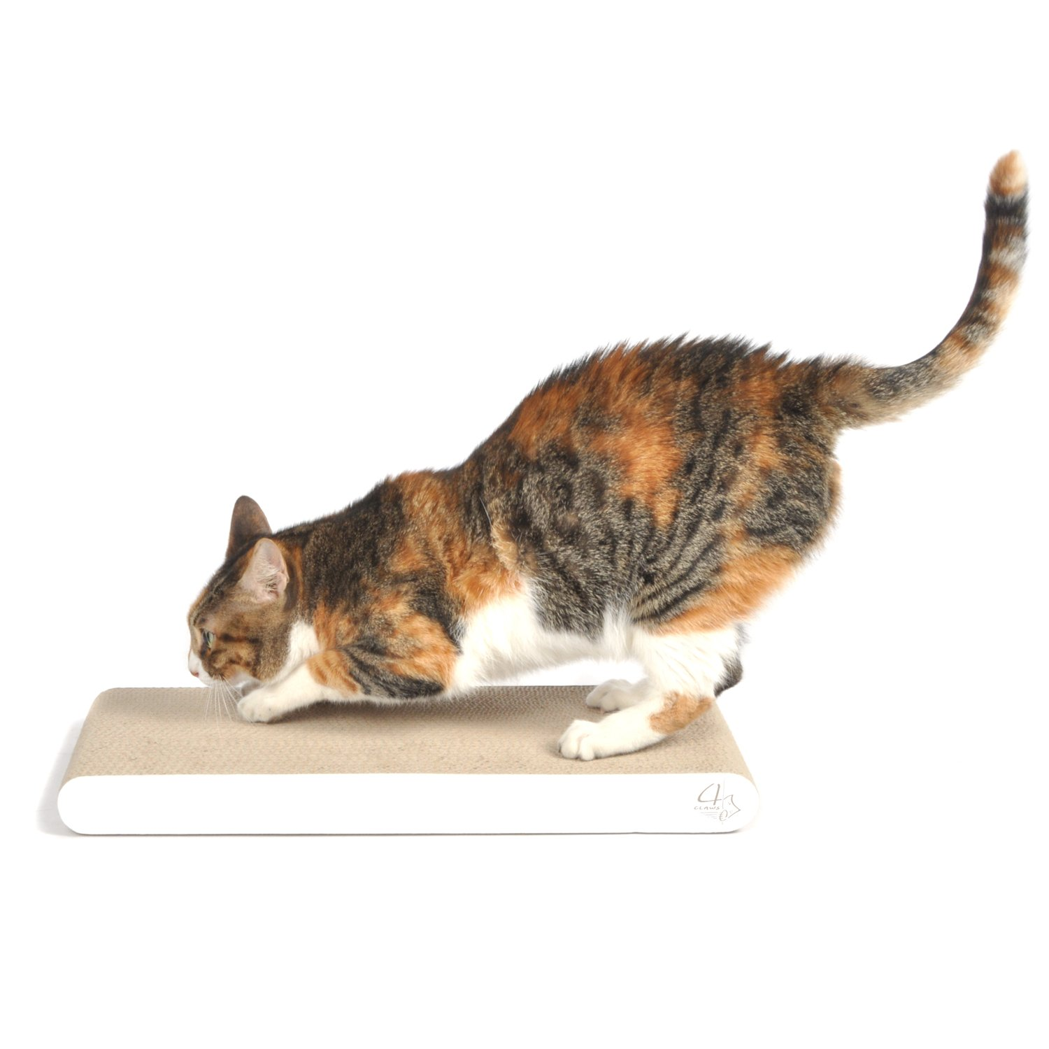 4CLAWS Flat Scratching Pad (White) - BASICS Collection Cat Scratcher Set of 2