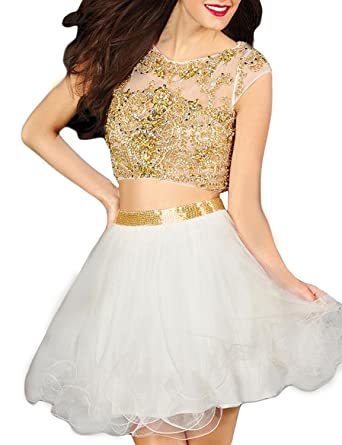 Homecoming Dresses Tulle Appliques Beaded White Short Prom Dresses Two Pieces A-Line