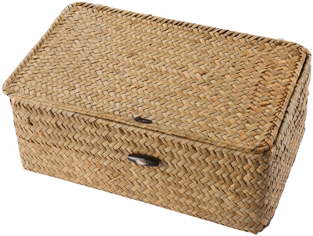 Vosarea Rattan Storage Basket,Straw Seaweed Basket, Hand-Woven Storage Basket Multipurpose Container with Lid for Desktop Home Decoration (S)