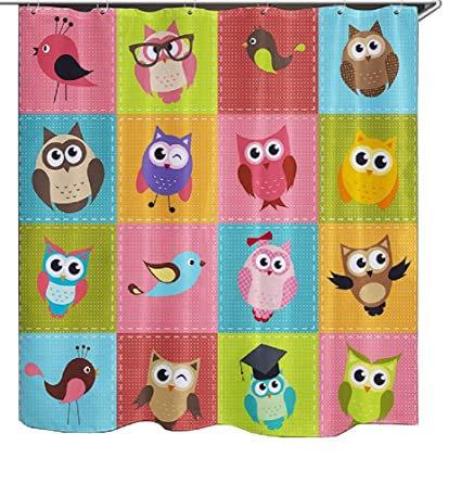 Image Unavailable Not Available For Color Izielad Cute Cartoon Animal Owl Fabric Shower Curtain