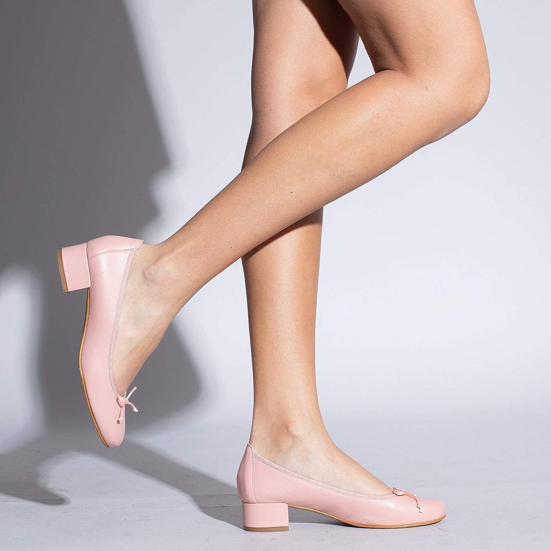 Ballerines /à Petit Talon en Cuir Confortables Ballerines en Cuir Made in Spain Ballerine /à Lacets Femmes miMaO Chaussures