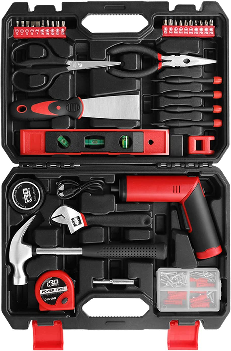 PROSTORMER 57-Piece Household Tool Kit, Basic Home Repair Set with Cordless Electric Screwdriver for DIY & Home Maintenance with Plastic Toolbox Storage Case