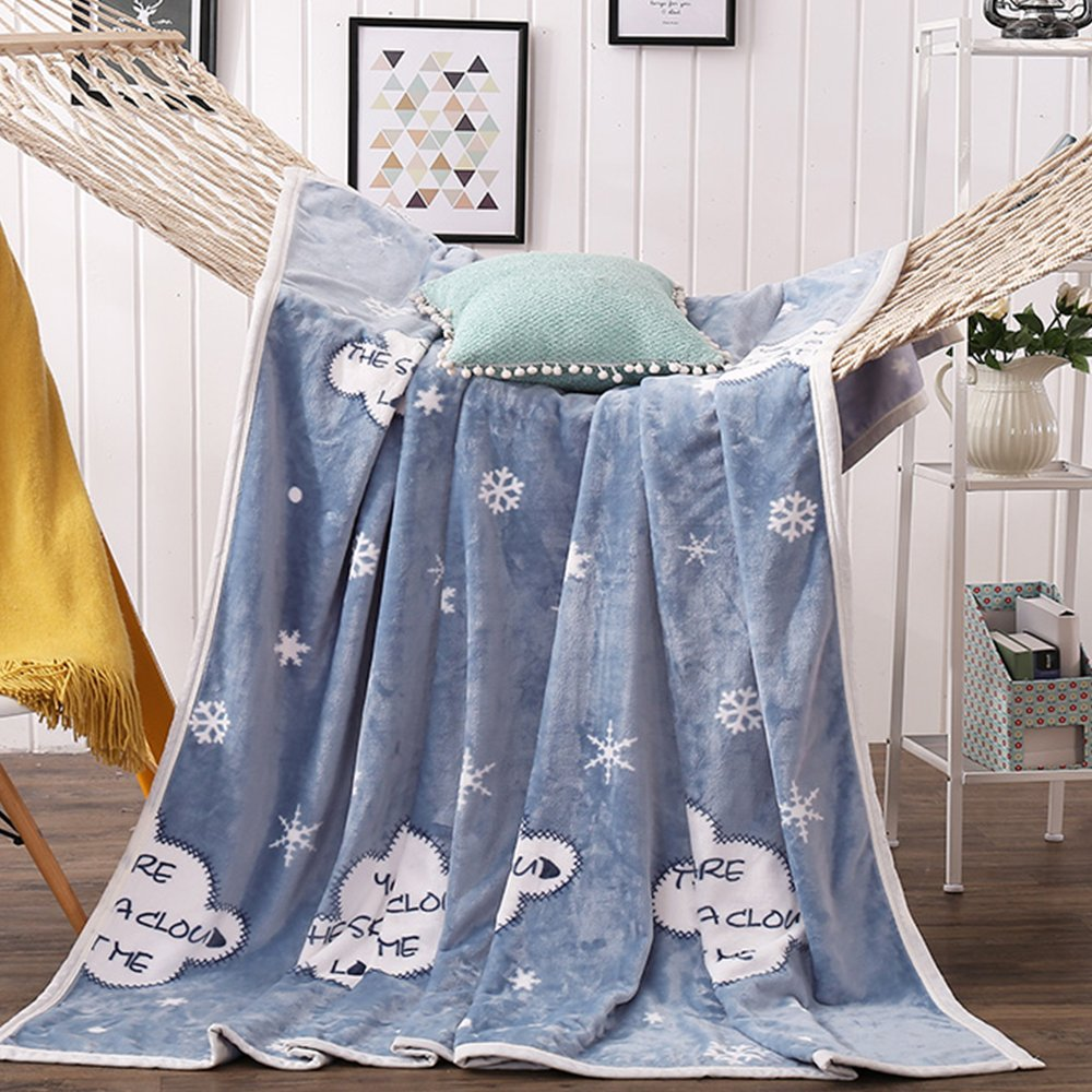 MYLUNE HOME Faux Fur Mink Fleece Blanket Throws Quilt with Snowflakes Pattern for Bedroom Living Rooms Sofa Full/Queen/King Size
