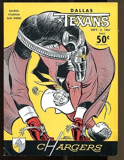 c0950ec300e 1961 AFL San Diego Chargers v Dallas Texans Program 9/3 Balboa ...