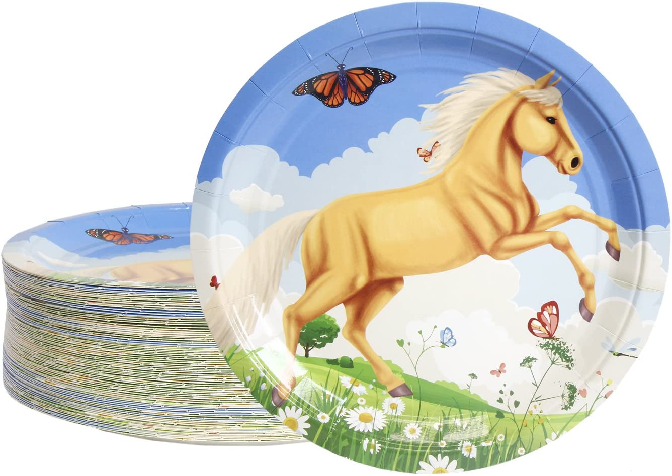 Disposable Plates - 80-Count Paper Plates, Horse Birthday Party Supplies for Appetizer, Lunch, Dinner, and Dessert, Kids Birthdays, 9 Inches in Diameter