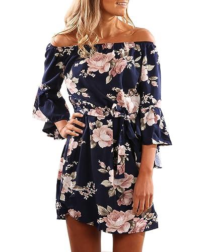 Women Summer Beach Floral Print 3/4 Sleeve Off the Shoulder Short Dress