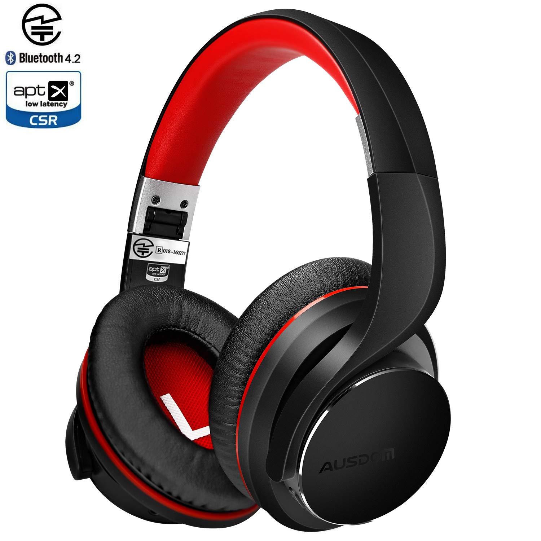 AUSDOM Auriculares Bluetooth 4.2v sobre la oreja, Apt-X baja latencia, auriculares inalámbricos , auriculares estéreo con aislamiento de ruido Micrófono ...