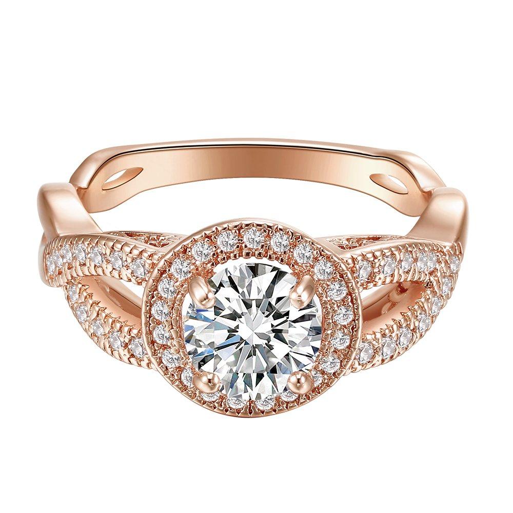 Round Diamond Cut Eternity Love Twisting Split Shank Engagement Ring Size 5-10 Jewelry (Rose Gold, 7)