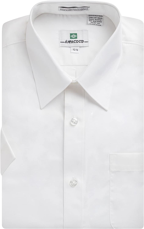 Ampaco Mens Regular Fit Short Sleeve Easy Care Solid White Dress Shirt