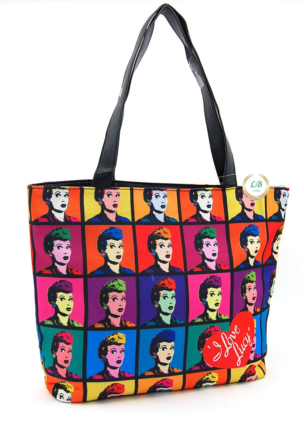 I Love Lucy Collage TV Show Purse, Collage Tote Style (Black 2)