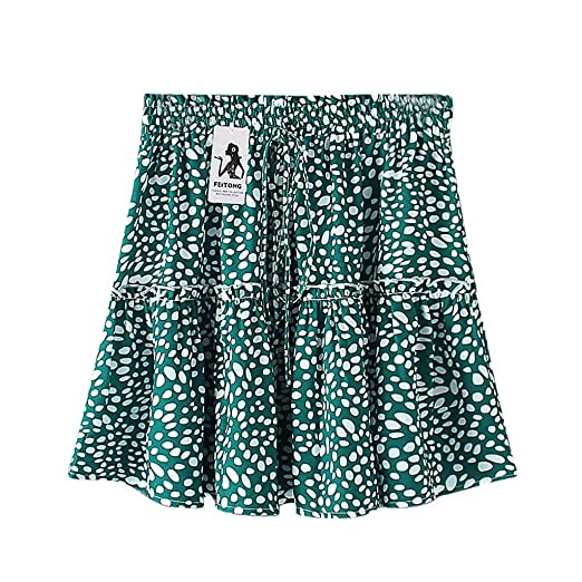 51f08f447f4c Amazon.com: Hot 2019 Fashion Women A-Line Pleated Lace Up Short Skirt  Outdoor Casual Cute Polka Dot Print Ruffles Skirt(S-3XL): Clothing