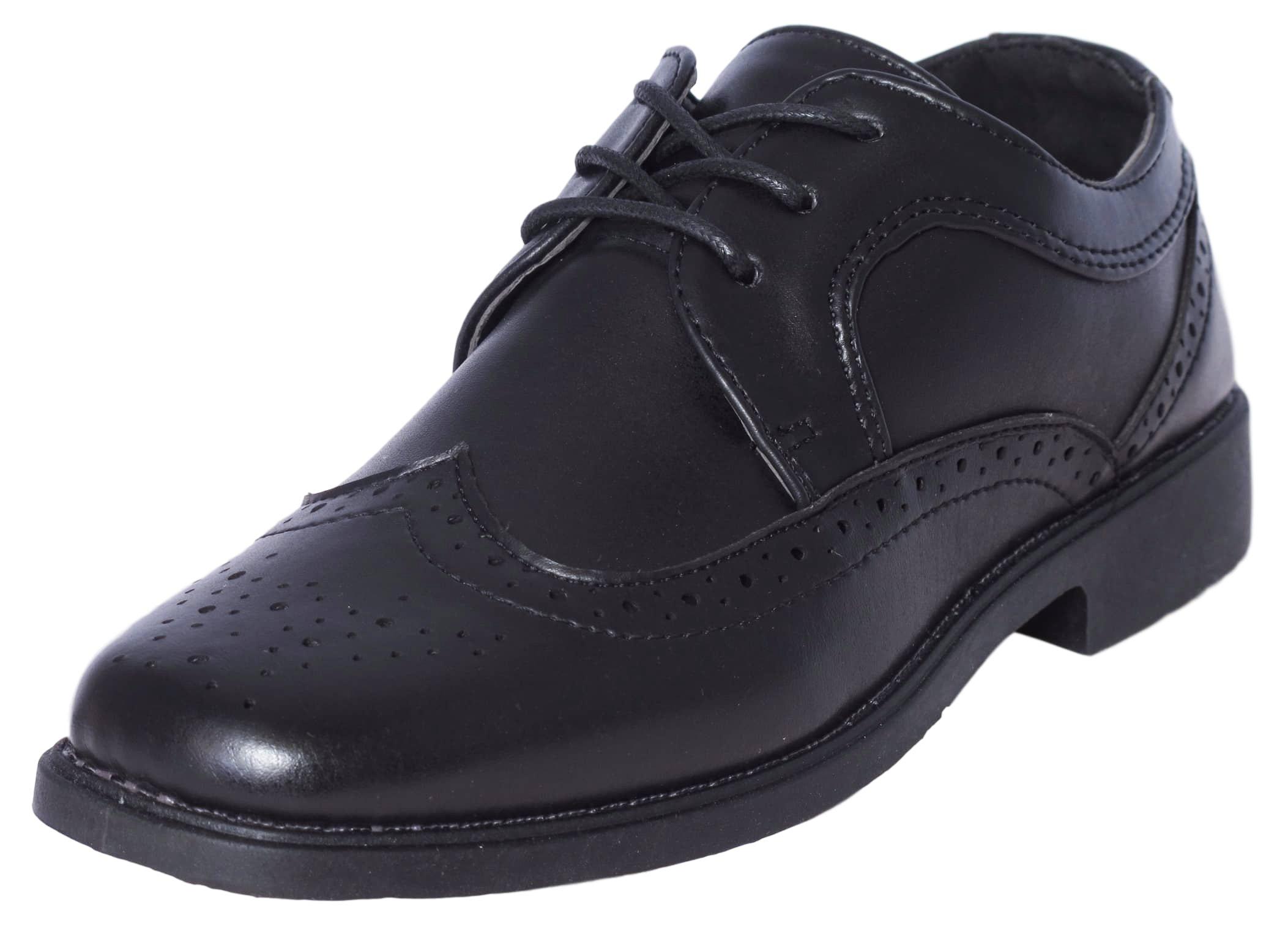 Josmo Boys Classic Comfort Dress Wing-Tip Oxford Shoe (Toddler, Little Kid, Big Kid), Black, Size 12'
