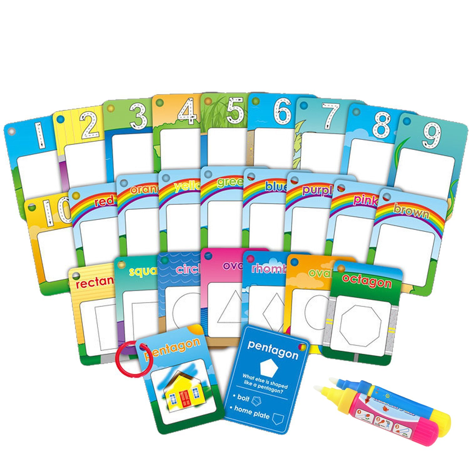 Dorras Water Painting Graffiti Book Card 26pcs Chidren's Early Education Cognitive Cards 1-9 Number Colors and Shapes Colouring Doodle Board + 2 Magic Drawing Pens Games Toy for Toddlers Kids Baby
