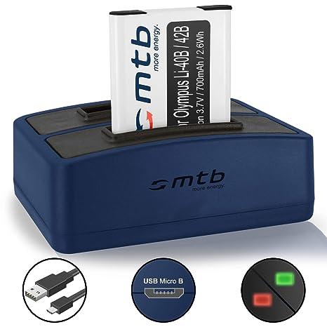 Batería + Cargador Doble (USB) Li-40b/42b para Olympus FE-. mju. µ. TG. VG. VR. X. - Ver Lista de compatibilidad