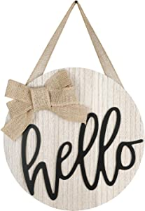 LEJHOME Hello Sign Front Door - Wood Hello Wreaths Sign for Rustic Farmhouse Porch Decorations - Door Hangers Front Porch Decor Outdoor Hanging Sign