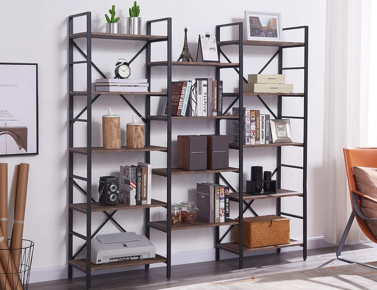 SUPERJARE Triple Wide 5-Tier Bookshelf, Rustic Industrial Style Book Shelf, Wood and Metal Bookcase Furniture for Home & Office - Vintage Brown