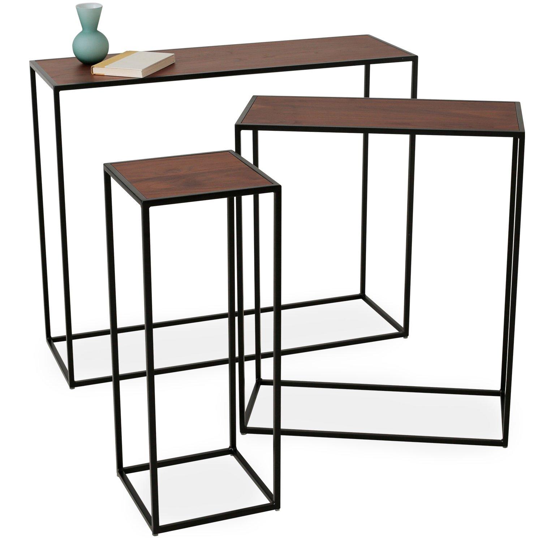 LOWYA (ロウヤ) テーブル サイドテーブル コンソールテーブル スチールフレーム ディスプレイテーブル 展示 おしゃれ 3点セット 長方形 ウォルナット/ブラック B07BY8FGX7 ウォルナット/ブラック 長方形