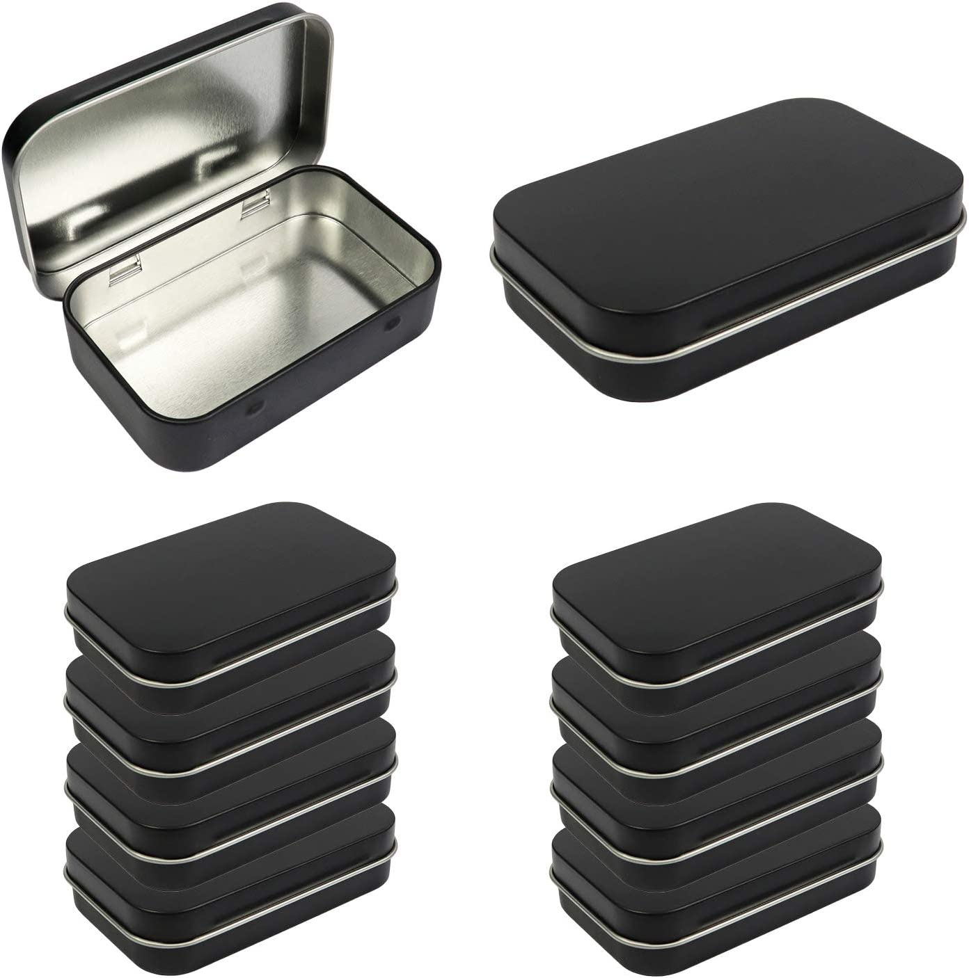 10 Pack Metal Rectangular Empty Hinged Tins Box Containers 3.75 by 2.45 by 0.8 Inch Black Mini Portable Box Small Storage Kit Home Organizer (10 Black)