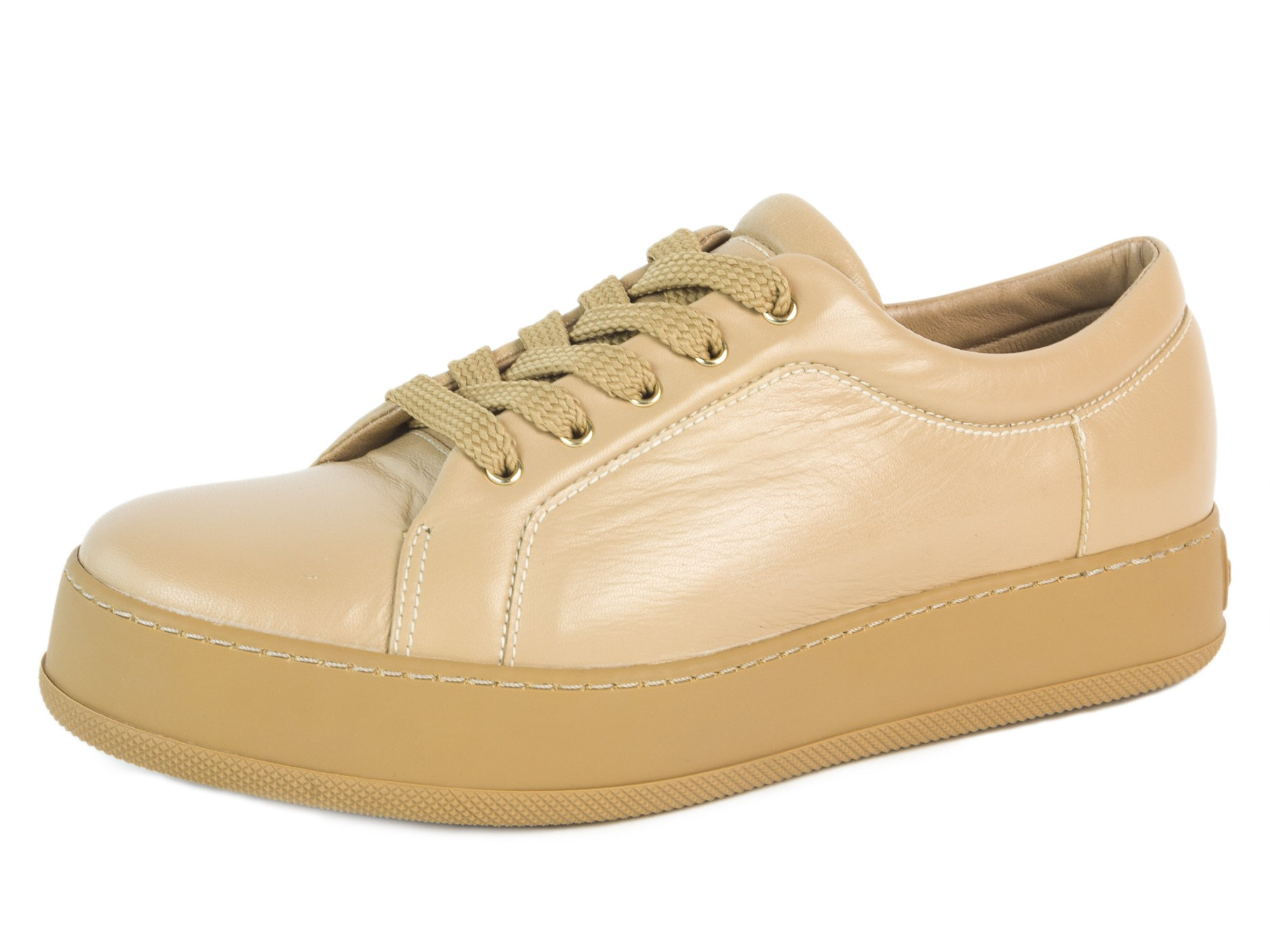 MaxMara Women's MM47 Leather Lace-up Sneakers US 7/IT 37 Camel