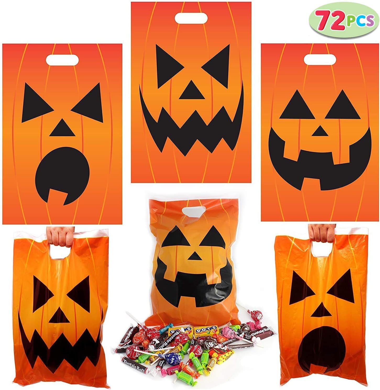 72 Pieces Halloween Jack O Lantern Goodie Bags for Trick-or-Treating, Halloween Party Favors, Halloween Snacks, Event Party Supplies, Halloween Trick Or Treat Bags: Toys & Games