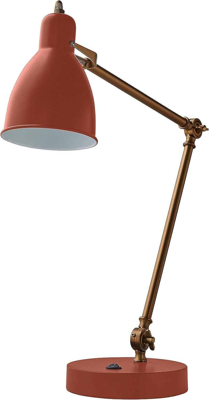 "Amazon Brand – Rivet Caden Adjustable Task Table Metal Lamp with Bulb, 28.5""H, Terracotta"