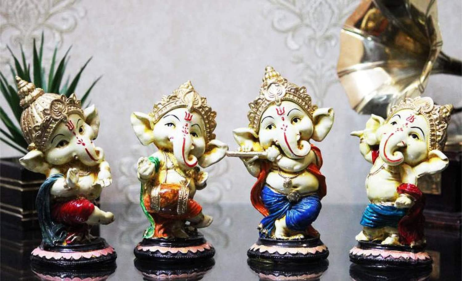 Set of 4 Handcrafted Meditating Lord Ganesha Idols Statue for Home Decor Decorative Showpiece with Musical Instruments
