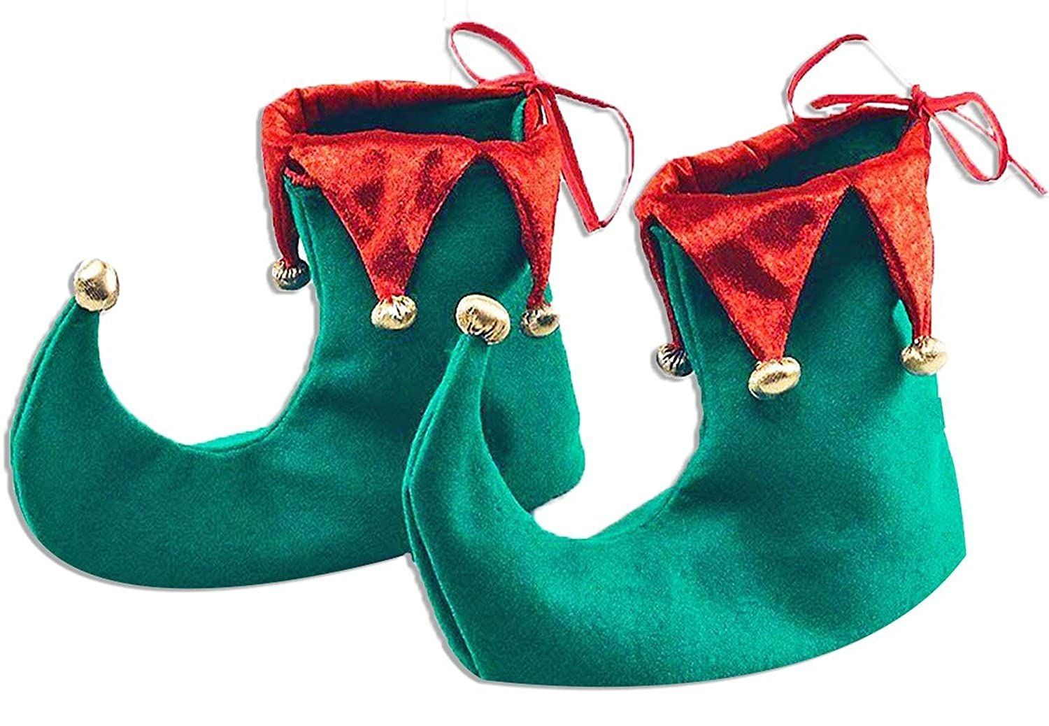 Sofias Closet Adults Deluxe Elf Elves Shoe Covers Novelty Red Green Curly Toe Boots Santa