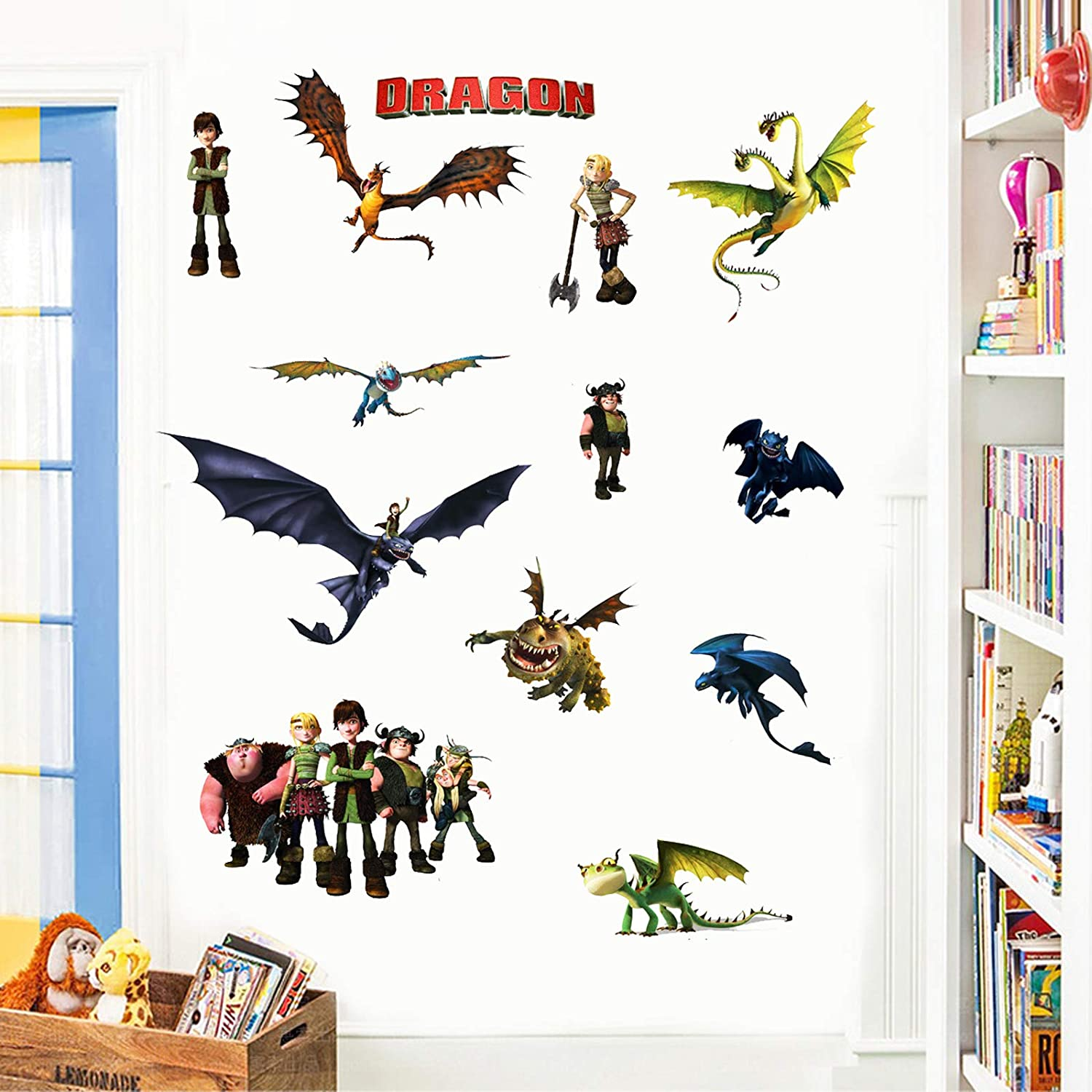 How to Train Your Dragon Wall Stickers Decals for Kid's Living Room Background Wall Decoration