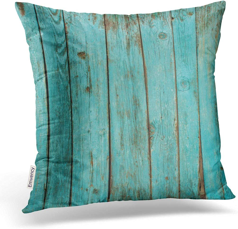 Emvency Decorative Throw Pillow Cover Square Size 20x20 Inches Turquoise Wood Teal Barn Wood Weathered Beach Decor Pillowcase with Hidden Zipper Decor Fashion Cushion Gift for Home Sofa Bed Car