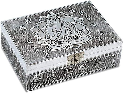 caja de madera y metal con las cartas del tarot y joyas. 00228 ...