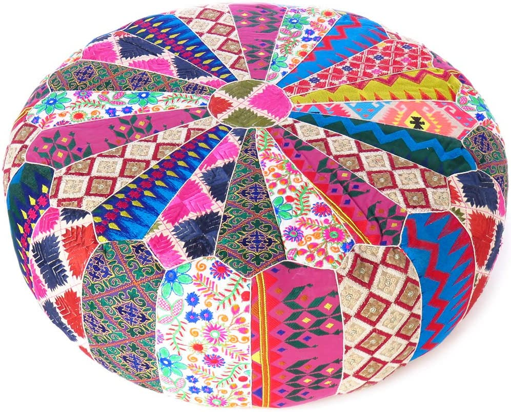 Eyes of India 22 X 8 Colorful Round Ottoman Pouf Pouffe Cover Floor Seating Bohemian Accent Boho Chic Indian Handmade