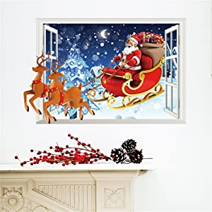 Santa Claus Reindeer Christmas Window Wall Sticker Wall Decal Christmas Decoration Xmas Window Decoring Removable Decor Art