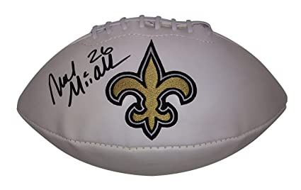 c07301440 New Orleans Saints Deuce McAllister Autographed Hand Signed White Panel  Embroidered Logo Football with Proof Photo