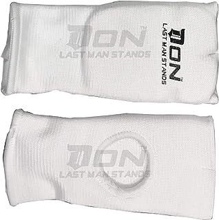 Don Karate Gants de Boxe en Coton élastique pour Arts Martiaux MMA avec Doigts Ouverts, Bandages de Poing rembourrés Blanc