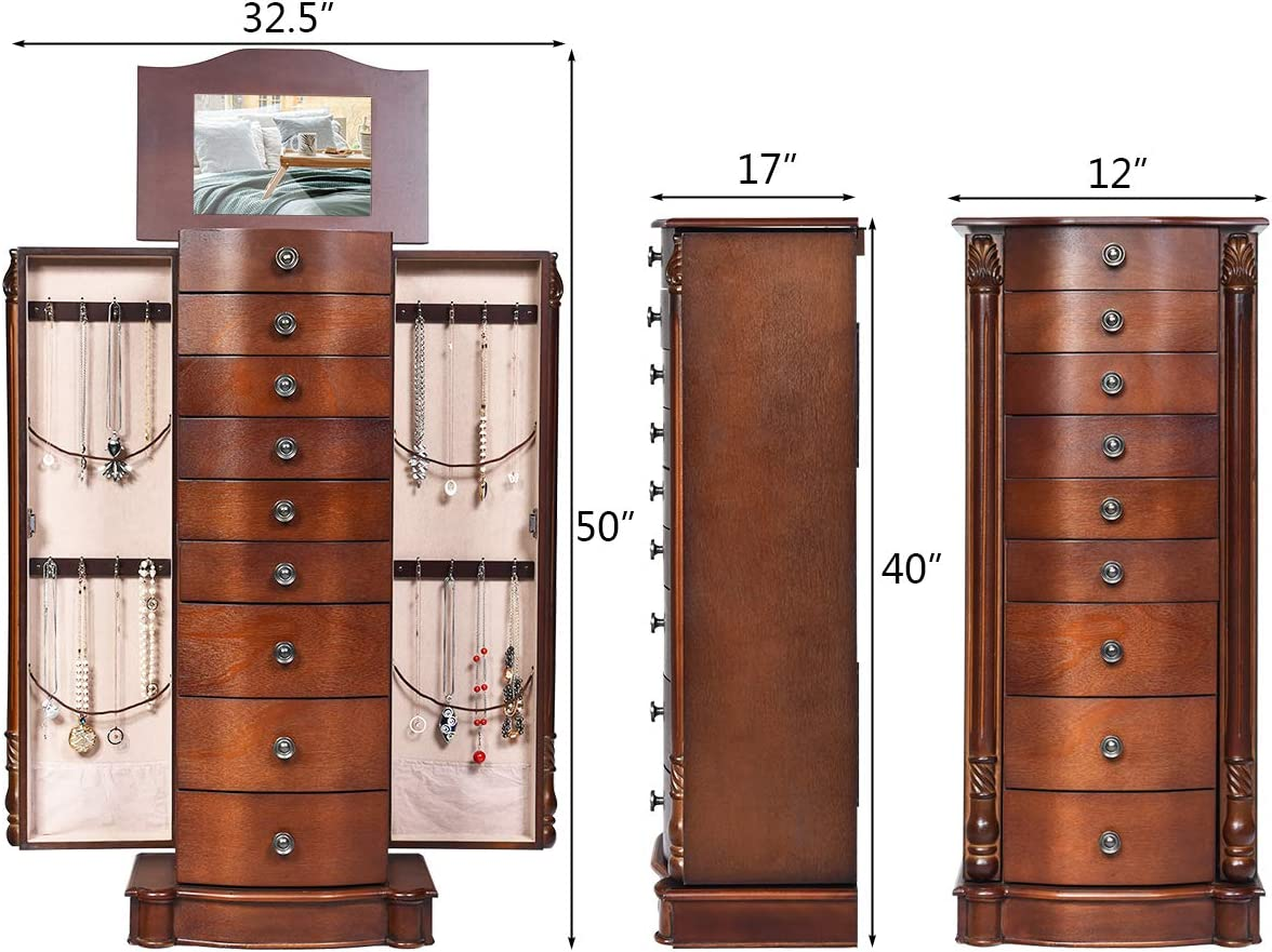 Giantex Large Jewelry Armoire Cabinet with 8 Drawers /& 2 Swing Doors 16 Hooks Top Mirror Boxes Standing Cambered Front Storage Chest Stand Large Standing Jewelry Armoire Dark Walnut