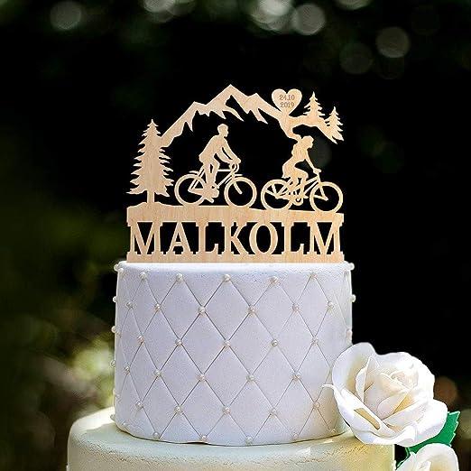 Decoración para tarta de boda, diseño de bicicleta con texto en ...