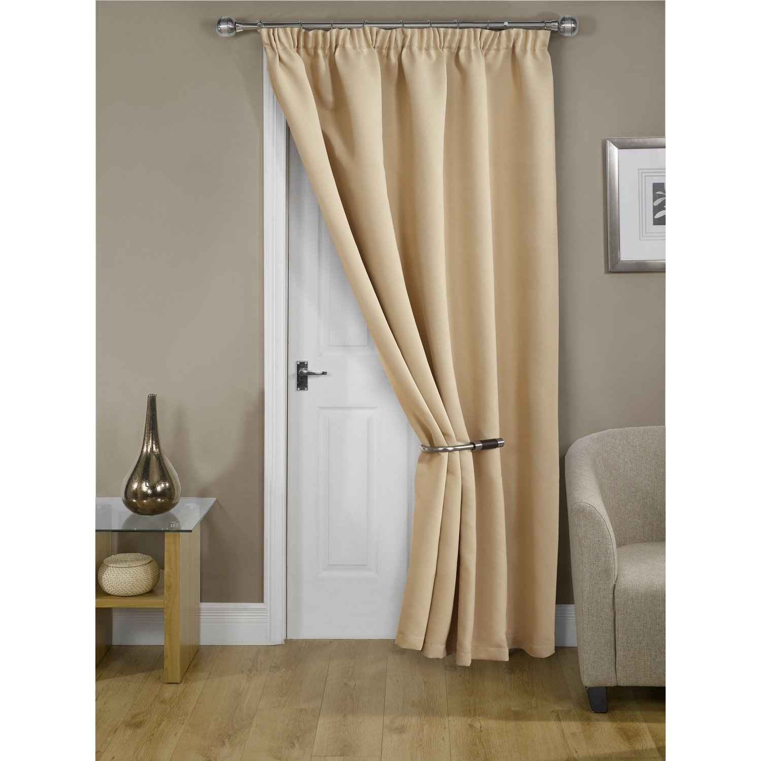 Cali Blockout Thermal Eco Tür Vorhang (167 x 213cm) (Beige