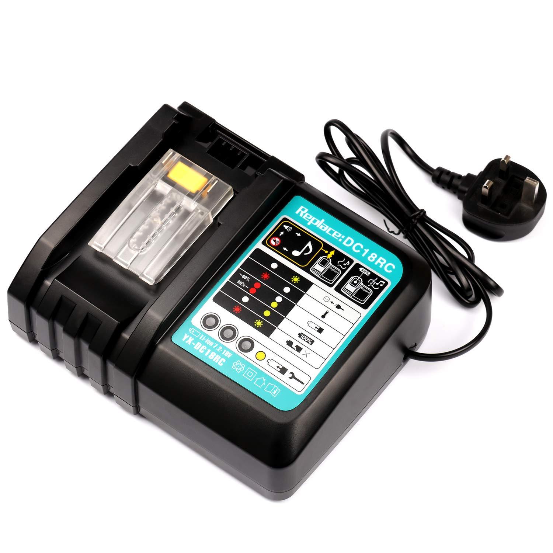 18V Fast Battery Charger DC18RC for Makita Li-ion Battery BL1860 BL1850 BL1840 BL1830 BL1430 BL1430A with Power Indicator Batteriol Makita 14.4V