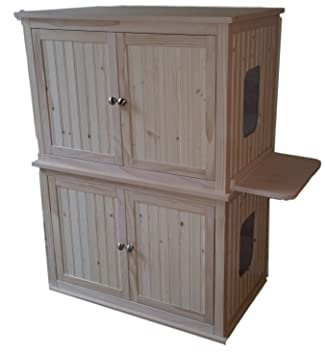 Charmant Double Stacked Cat Litter Box Cabinets. Made In USA. Wood, Not MDF.