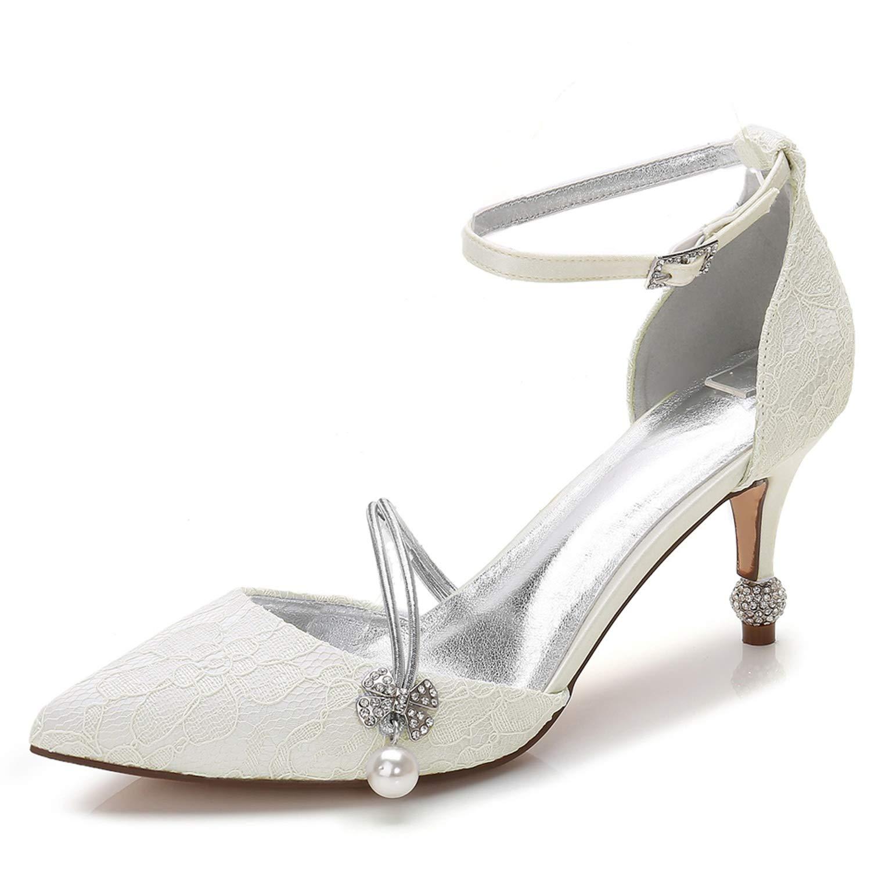 Elobaby Zapatos De Boda De Mujer Vestido Formal De SeñOra Nupcial SatéN Hecho a Mano Blanco Noche Tacones Altos / 7.5cm TalóN 42 EU